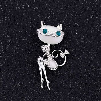 opal brooch cat wearing sunglasses woman sexy cute cat pin and brooch wedding accessories