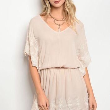 Cream Embroidered Lace Dress