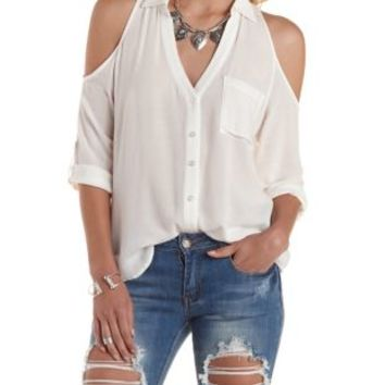 3e178dd06e8 White Cold Shoulder Button-Up Top by from Charlotte Russe