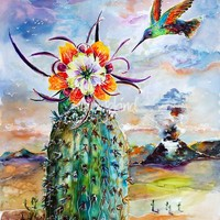 """Hummingbird on Cactus Flower"" by Ginette Callaway"