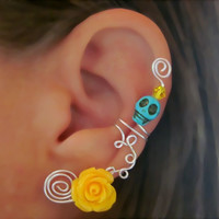 Cartilage Ear Cuff Skull Non Piercing Halloween, Dia de los Muertos, Color Choices