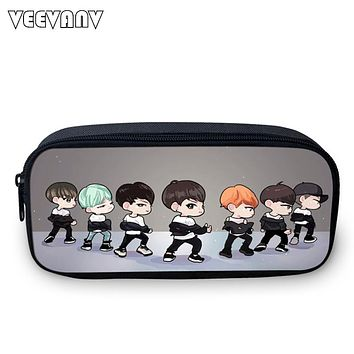 2017 New Designer Korea BTS Cartoon Pen Bags Teenage Girls Kids Printing Stationery Cosmetic Storage Bag Women School Pen Case