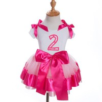 Pink Satin Bow Girls Birthday or Numbered Tutu Dresses