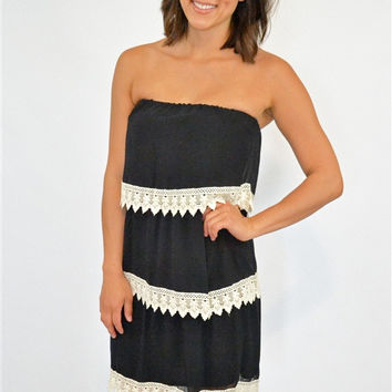 3 Layer Lace Detail Tube Dress in Black