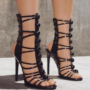 Patent Leather Open Toe Sandals Button T-Straps High Heels Lace Up Club Stiletto
