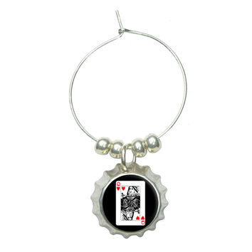 Playing Cards Queen of Hearts Wine Glass Bottlecap Charm
