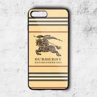Special!! Burberry.55 Brown Stripe Fit Hard Case for iPhone 6 6s 7+ 8+ Cover