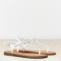 's Chain Link T-strap Sandal (White)