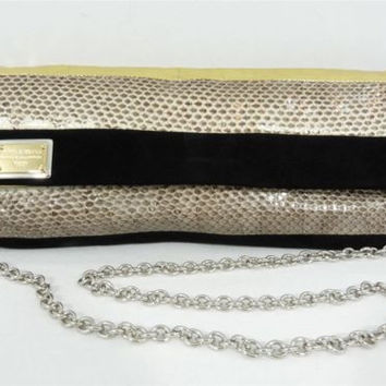 Dolce & Gabbana Gold Leather Black Suede and Snakeskin Purse Shoulder Bag Clutch