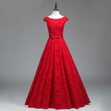 Red prom dress beaded applique lace formal dress floor length long evening gowns