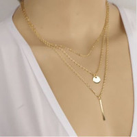 Fashion Women Multi Layer Jewelry Gold/Silver Plated Chain Pendant Necklace