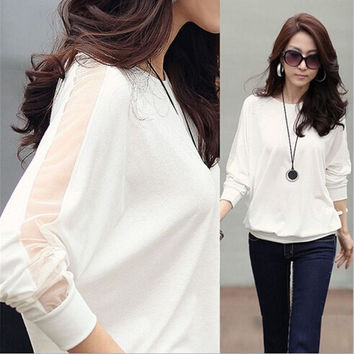 Hot Womens Long Sleeve Tops Casual Chiffon Shirt Career Blouses White/Black = 1913463044