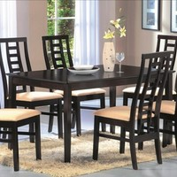 A.M.B. Furniture & Design :: Dining room furniture :: Dining table sets :: Espresso finish :: 7 pc Alondra collection espresso finish wood with dining table set with fabric upholstery on the seats with curved backs
