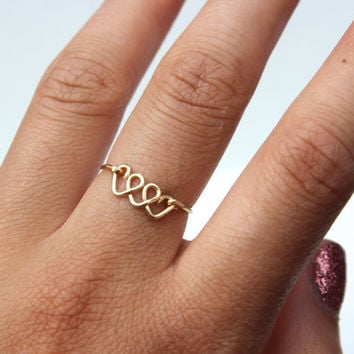 Gold Triple Heart Ring