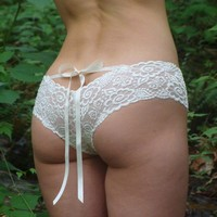 READY TO SHIP Size Small Ivory Lace Panties With Satin Ribbons - Bridal 'Sugarberry' Style Underwear