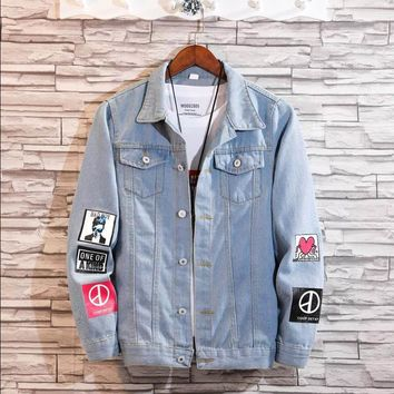 Trendy Women Frayed Denim Bomber Jacket Appliques Print Where Is My Mind Lady Vintage Elegant Outwear Autumn Fashion Coat  2018 AT_94_13