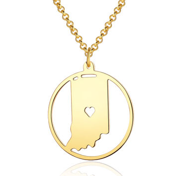 I heart State Indiana Circle Map Necklace - Handcraft State Pendant Charm