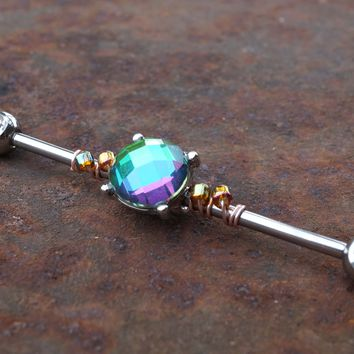 Round Green Crystal Industrial Barbell Multi Color