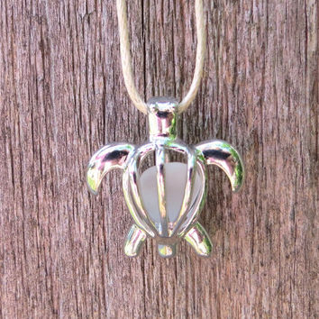 Sea Glass Turtle Locket White