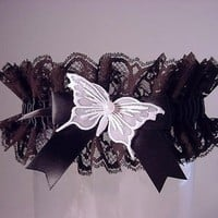 wedding garter Black Butterfly Garter for by PetereneDesign