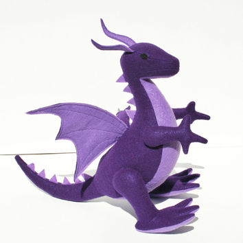 Purple Fantasy Plush Dragon, Handcrafted from Eco Fi Felt, Magical, Mythical, Stuffed Animal Toy, Handmade