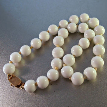 White Coral Bead Necklace, Large 14K Rose Gold Clasp, Hand Knotted, 10mm Beads, Wedding Jewelry