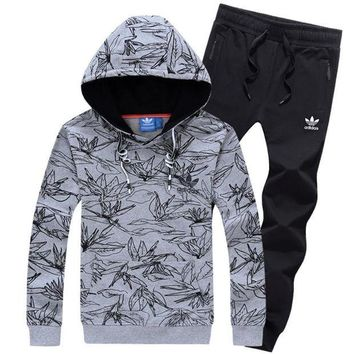 NOV9O2 Adidas Top Sweater Pullover Hoodie Pants Trousers Set Two-Piece Sportswear-8