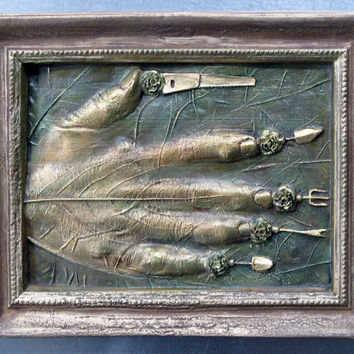 Wall sculpture, hand, gardening tools, by Leslie Fry
