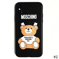 Moschino Tide brand bear iPhone6s/8/7plus leather all-inclusive soft shell protector #2