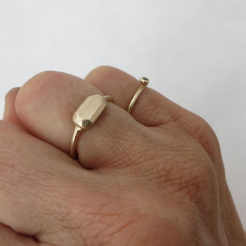 14k Gold faceted ring. Gold nugget ring .minimalist geometric ring.  Gold square ring. ring for women. Wedding ring. Valentine's day gift.