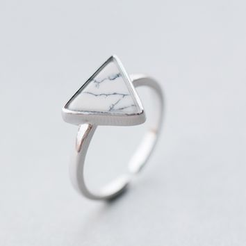 Triangle Turquoise Ring ,925 sterling silver ring + Gift box ALQ