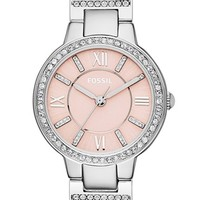 Women's Fossil 'Virginia' Crystal Bezel Bracelet Watch, 34mm