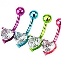 "Neon Color (Purple, Blue, Green, Pink) Plated 316L Surgical Steel Heart Prong Set Belly Ring with Clear Crystal - 14G - 3/8"" Bar Length - Sold as a Set of 4:Amazon:Jewelry"