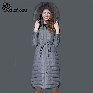 Kaximei White 90% Duck Down Full Down Jacket Women 2017 New Arrival Long Section With Cap Fur Collar Wear Outwear Coat 6061