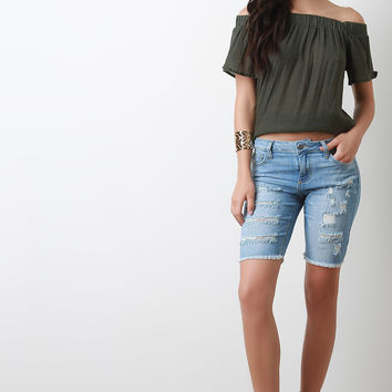 Distressed Frayed Hem Bermuda Denim Shorts
