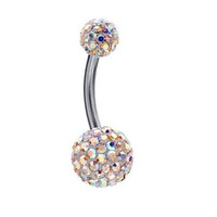 BodyJ4You Belly Ring Aurora CZ Crystal Double Gem Belly Navel Button Ring 14G Piercing Jewelry