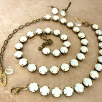 White opal Swarovski crystal necklace, bracelet, earrings, Purchase individual pieces or the entire set -SELECT-A-FINISH