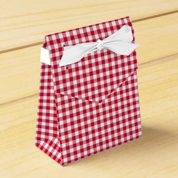Gingham-Berry-Red-Favor Box, Tent Favor Box