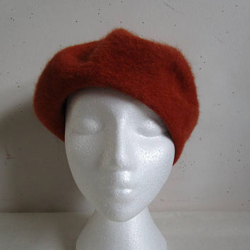 Autumn Russet 80s Beret Vintage Boutique Kates 1980s Angora Wool Fuzzy Ladies Hat
