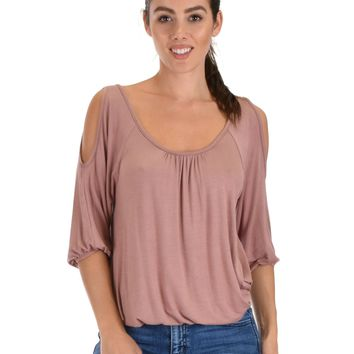 Lyss Loo I Feel Good Cold Shoulder Mauve Cinched Top