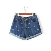 embroidery denim shorts