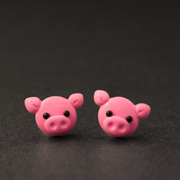 Pig Earrings Studs Farm Animals Polymer Clay Cute by PixieHearts