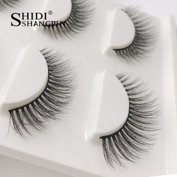3 Pairs 3d mink eyelashes Makeup faux lashes