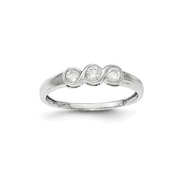 14K White Gold Polished 3 Stone Diamond Ring
