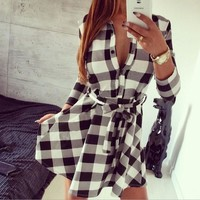 Lapel long-sleeved plaid shirt dress