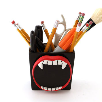 Halloween decor - vampire teeth - ceramic vase or pencil holder - monster lover - Halloween birthday or party - under 10
