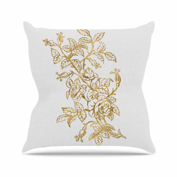 "888 Design ""Golden Vintage Rose"" Floral Digital Throw Pillow"