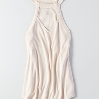 AEO Soft & Sexy Cutout Mock Neck Top , Chalk