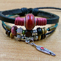 personalized friendship bracelets wristbands  for men women black Leather Rope wooden Bead metal  leaf red ceramic adjustable A203