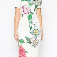 White Floral Short Sleeve Bodycon Midi Dress
